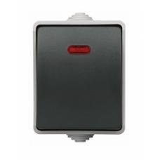 Выключатель одноклавишный со свет. индикатором для открытой установки IP54